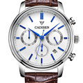Cadisen Luxury Watch Men 6 Pointers Auto Date Genuine Leather Quartz-Watch 30M Water Resistant Watch Men Reloj Hombre White Dial