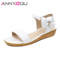 Meotina Women Sandals Summer Genuine Leather Shoes 2018 Wedges Med Heels Bow Casual Shoes Ankle Strap