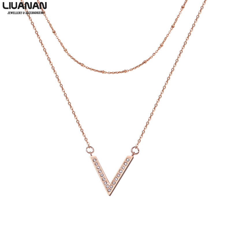 Liuanan Jewellery Fashion Rose Gold Necklace V Shape 2 Layered Necklaces Set For Women Stainless Steel Charm Necklace Pendant Necklaces Aliexpress