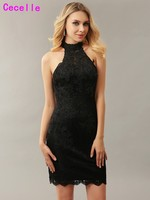 Sexy Black Sheath Lace Cocktail Dresses For Women High Neck Short Beaded Keyhole Back Sleeveless Prom Cocktail Dress Real Photos