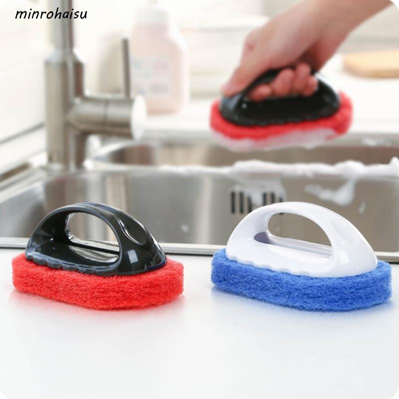 1 Pcs Useful Home Strong Decontamination Bath Brush Magic Sponge Tiles Brush kitchen Supplies Wash Pot Clean Brush Sponge Rub