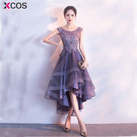 Purple Cocktail Dress Elegant High Low Appliques vestido cocktail Scoop Short Graduation Dresses 2018