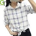 2017 Camisa Moda Feminina Blusas Casual Manga Comprida Turn-down Collar Camisas Xadrez Camisa de Algodão Ocasional Das Mulheres Encabeça Blusas Femm