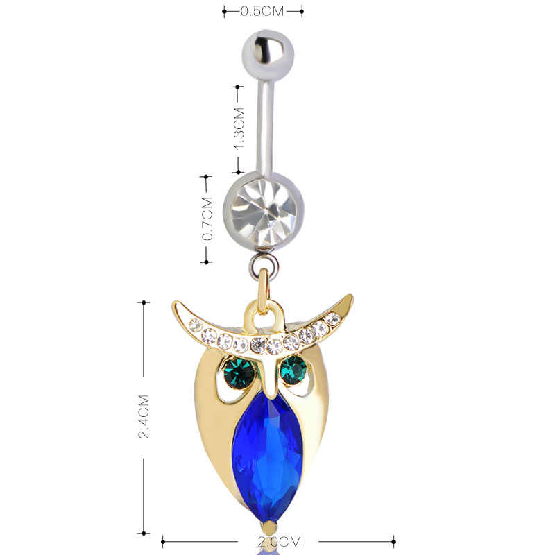 Owl Navel Piercing แหวนสำหรับหญิงสาวเซ็กซี่จี้เครื่องประดับสแตนเลส Navel Piercing Belly แหวนเครื่องประดับ