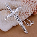 Free Shipping fashion jewelry Necklace pendants Chains, 925 jewelry silver plated necklace Long cross of Jesus ikdg ymfp