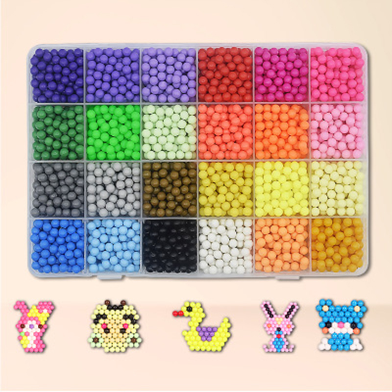 24/15 Colors Aqua Beads Puzzle Choice 5mm Aquabeads Perlen Magic Water Beads Puzzles Toys Educational Kids Toys Puzzle Games