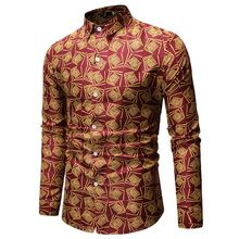 Mens Fashion Casual Printed Long-sleeved Shirt Business Spring And Autumn Clothing