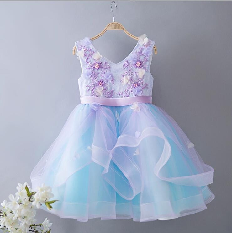 3z360 Unicorn Color Flowers Embroidery Baby Girls Ball Gown Princess Party Kid Dresses For Girls wholesale Children Clothing Lot