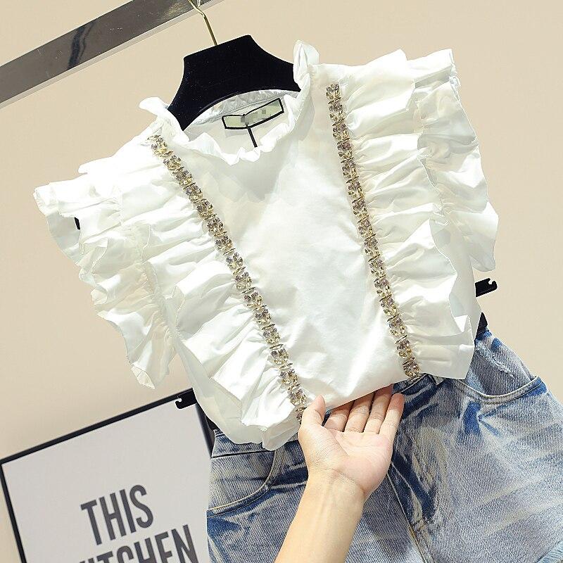 Ins Super Fire manches courtes blanc chemises femme doux Lotus feuille perles diamant doublé mousseline de soie Blouse 2018 été mode Blusas