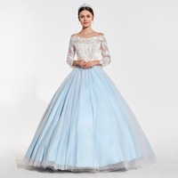 Tanpell beading lace ball gown quinceanera dresses women off the shoulder full sleeves floor length custom quinceanera dresses