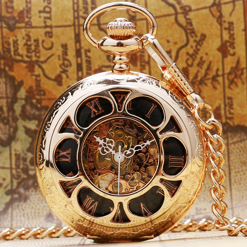 Luxury Hollow Gold Skeleton Pocket Watch Vintage Men Women Fob Watches With Chain Necklace Clock Accessory Antique Fob Gift