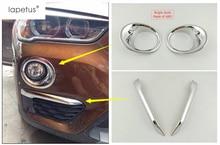 Фотография Accessories For BMW X1 F48 2016 2017 Bright Style Front Fog Light Eyelid Eyebrow + Rear Fog Lamp Foglight Molding Cover Kit Trim