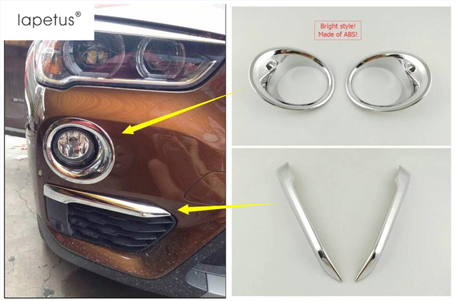 Lapetus Accessories For BMW X1 F48 2016 2017 2018 2019 Bright Front Fog Light Eyelid Eyebrow + Rear Fog Lamp Foglight Cover Trim