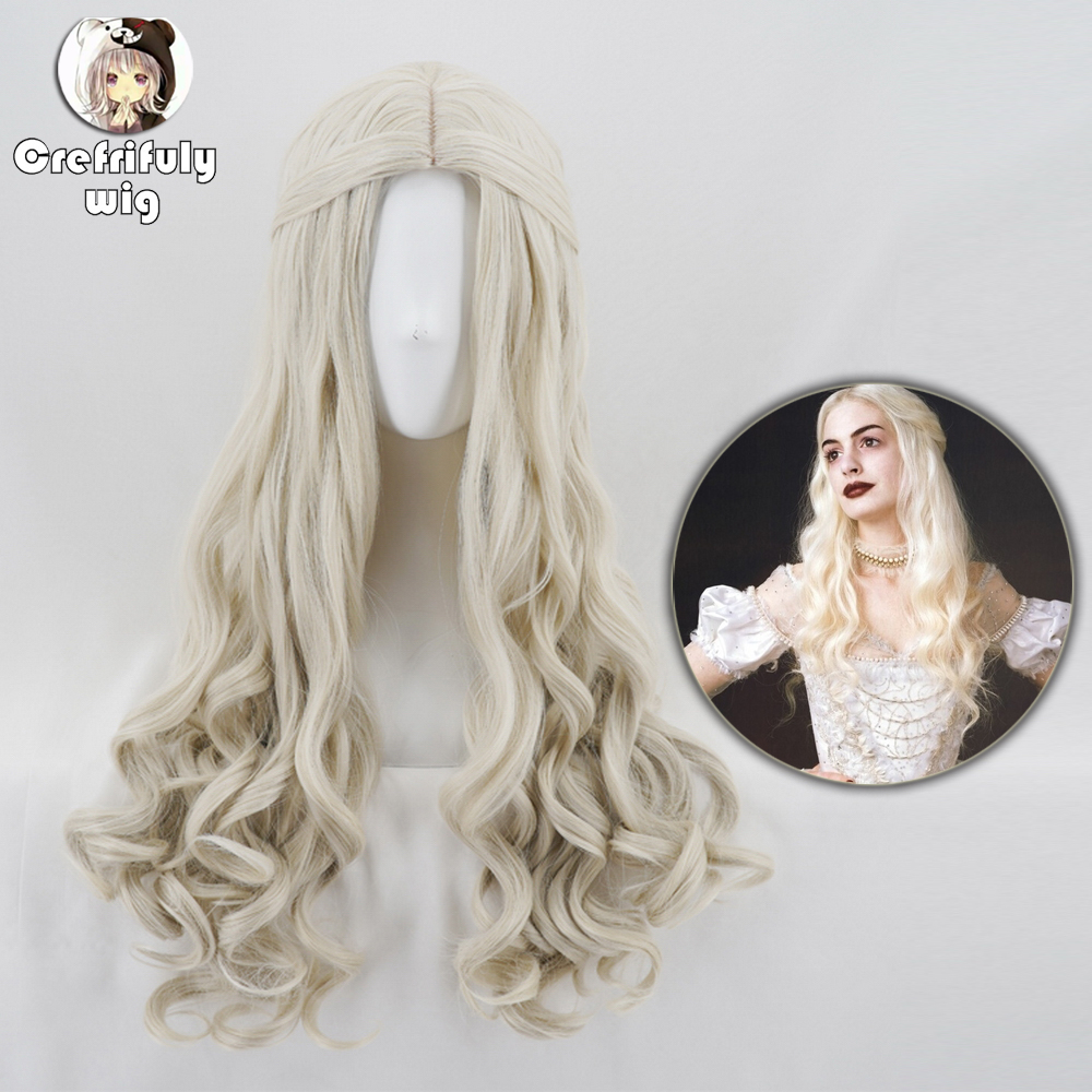 Alice In Wonderland 2 White Queen Cosplay Wig Blonde Wavy Long Synthetic Hair Heat Resistance Fiber Halloween Party Costume Wigs