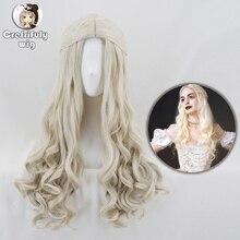 Alice in Wonderland 2 Witte Koningin Cosplay Pruik Blonde Golvende Lange Synthetische Haar Hittebestendigheid Vezels Halloween Party Kostuum Pruiken
