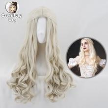 Alicja w krainie czarów 2 biała królowa peruka do cosplay blond faliste długie włosy syntetyczne włókno termoodporne kostium na halloween peruki