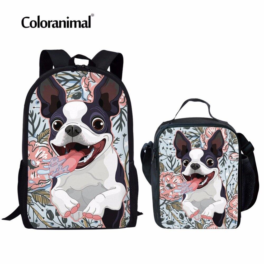 Coloranimal Teenager Schoolbags Girls Boys Mochilas Infantil Cute Goofy Boston Terrier Print Primary Student Backpack School Bag