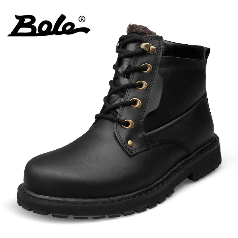 BOLE 37-52 Big Size Men Snow Boots Winter New Plus Plush Lace Up Men Tooling Boots Handmade Genuine Leather Men Motorcycle Boots dekabr 2018 new handmade men genuine leather winter boots high quality snow men boots ankle boots for men plus big size 36 47