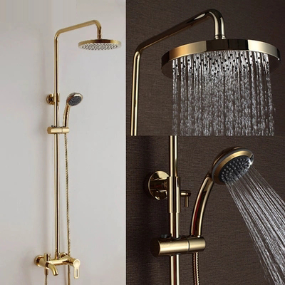 Luxury Gold and Rose Gold Brass Rain Shower Faucet Set Single Ceramic Handles Tub Mixer Hand Shower Bathtub Column Wall Mounted