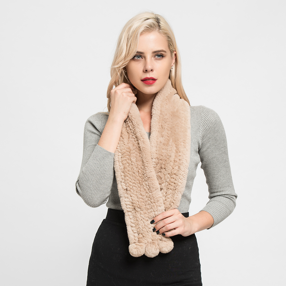 Luxury Real Rex Rabbit Thick Knitted Scarf Women High Quality Soft Shawls Spring Winter Keep Warm Best Gifts S7125