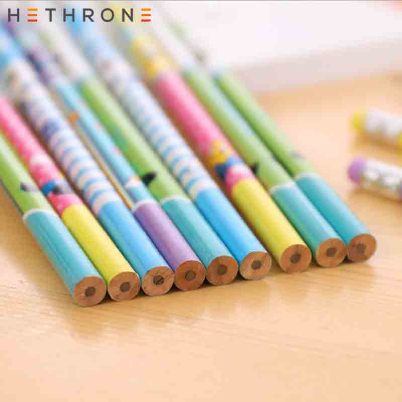 Image 3 - Hethrone 12pcs Animal wooden pencils for school Student writing drawing pencil set crayons sketch graphite lapices school items-in Standard Pencils from Office & School Supplies