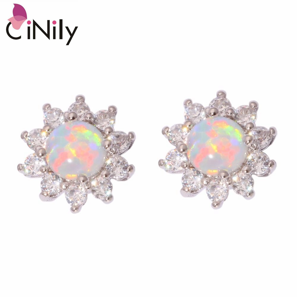 CiNily Created White Fire Opal Cubic Zirconia Silver Plated Earrings Wholes..