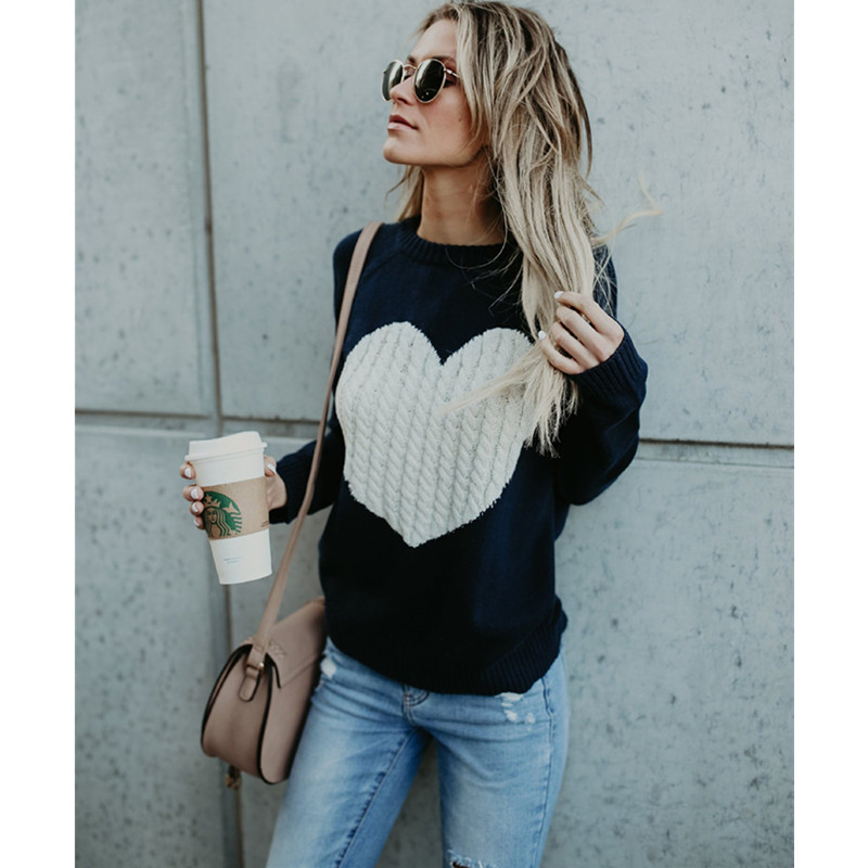 Sinfeel Fashion Print Winter Sweaters Women Long Sleeve Jumper Christmas Sweater And Pullover Knitted Sweater Female Pull Femme