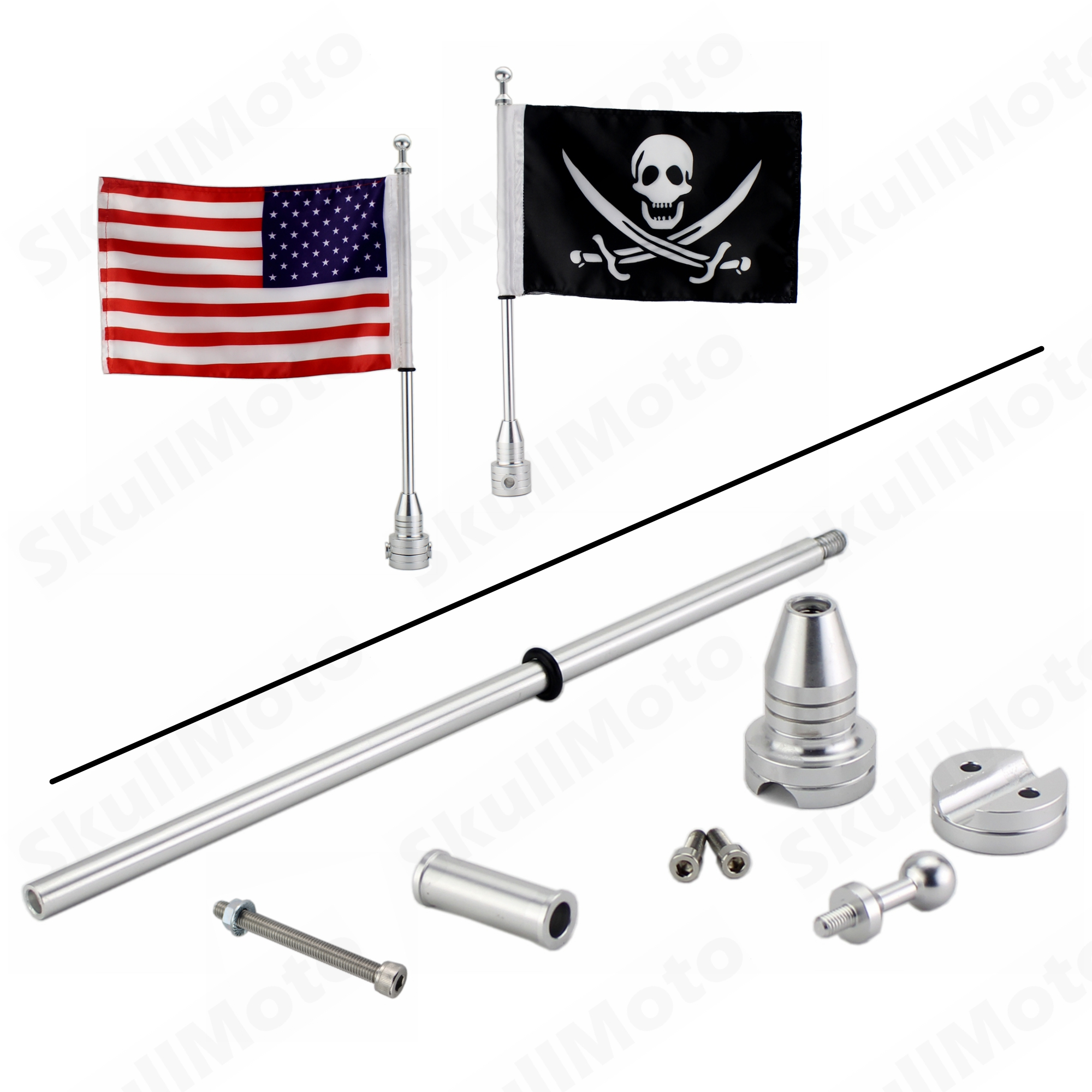 Motorcycle Silver CNC Rear Side Mount Flag Pole with USA Skull Flag Pirate flag For Harley Cruiser