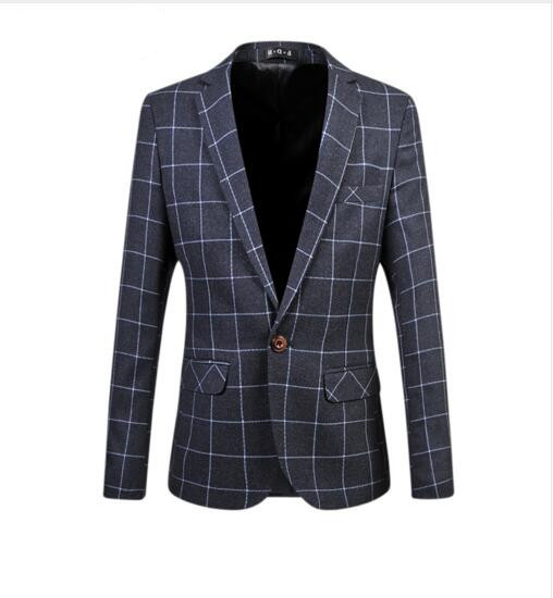 Loldeal 2018 New Arrival Men's Casual Blazers Long Sleeve Classic Simple Plaid Fashion Suit For Man
