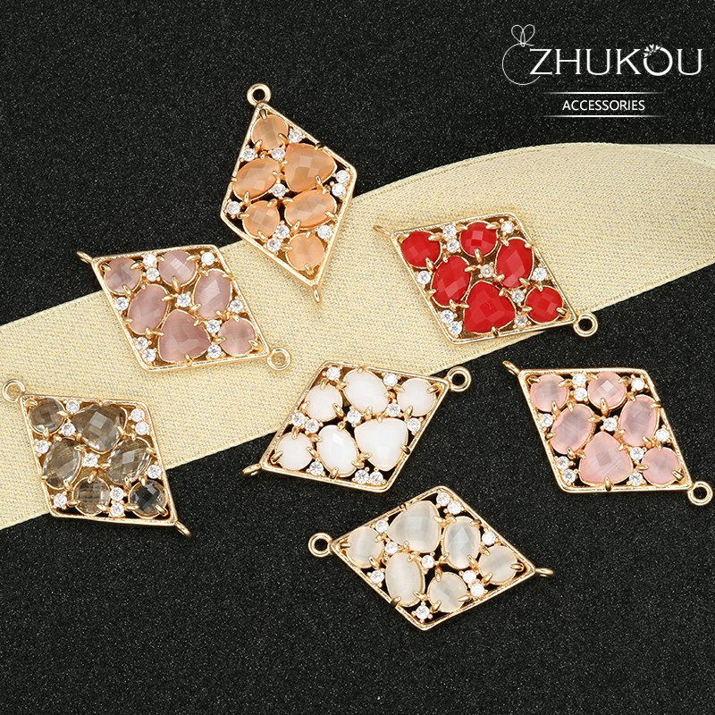 ZHUKOU 19*32mm Brass Cubic Zirconia Rhombic Crystal Connectors DIY Jewelry Findings Accessories, Model: VS334 Hole:1.2mm