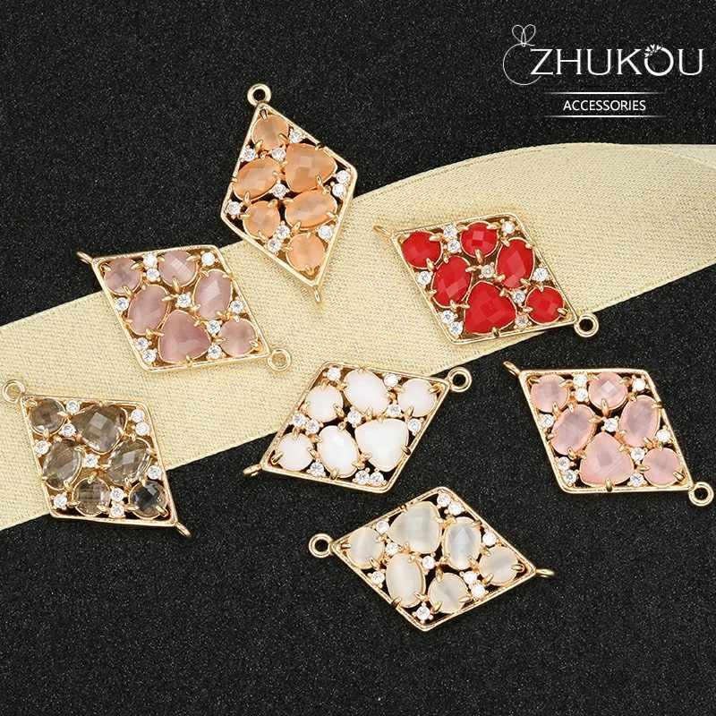 ZHUKOU 19*32mm פליז מעוקב Zirconia Rhombic קריסטל מחברים DIY אבזרים, דגם: VS334 חור: 1.2mm