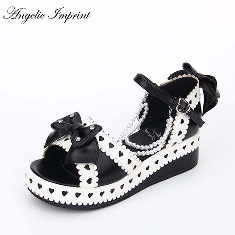 Japanese Sweet Lolita Hearts Thick Platform Wedge Princess Sandals with Bows and Pearls japanese sailor lolita cosplay thick platform cross