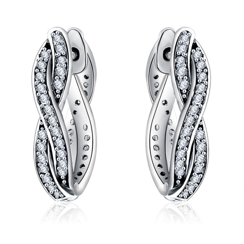 2019 New Trendy 925 Sterling Silver Love Eternal Braided Pave Zirconia Branded Earring Hoop For Women DIY Jewelry Birthday Gift in Hoop Earrings from Jewelry Accessories