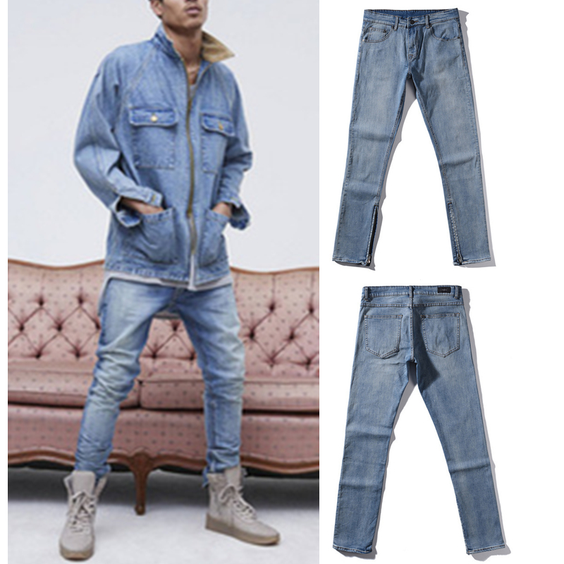 ФОТО Kanye West Men's Jeans Zipper Jeans Casual Jeans Men Male Denim  Justin Bieber Jeans Homme Hip Hop Men Pants Stretch