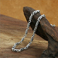 2016 New Hot Sale 4mm bamboo knot 100% real 925 sterling silver chain fashion necklace pendant women or men fine jewelry GN66