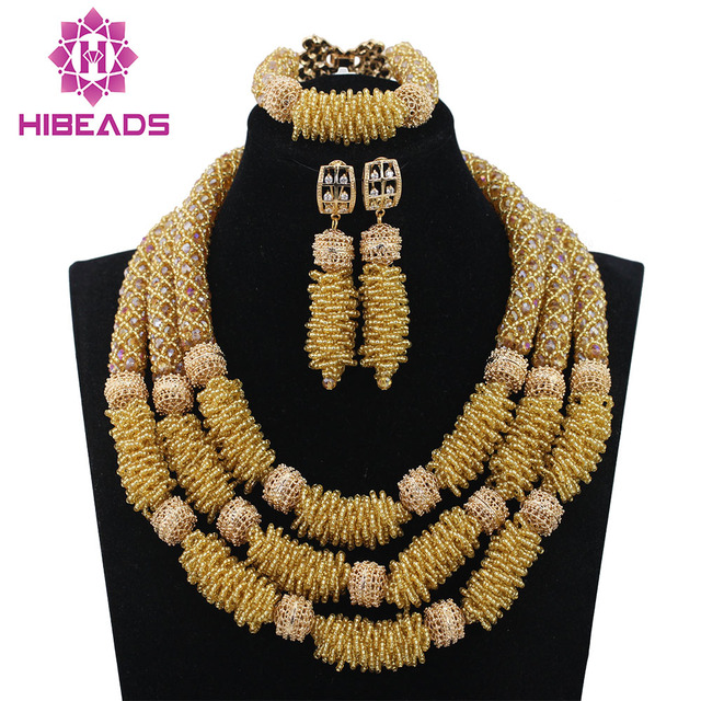 Latest Champagne Gold Crystal Seed Beads Rope Costume Jewelry