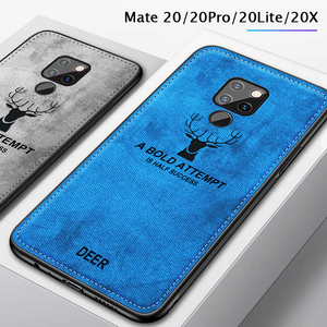 Soft TPU edge Canvas Embossed Deer Phone Case For huawei mate 20 pro x lite Case honor 8x Cover On For mate20pro mate20 20x x8 cases for huawei honor 20 pro 9 10 lite coque capa fundas(China)
