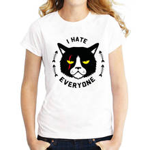 T Shirt Designer Fashion 2018 Women O-Neck Short-Sleeve  I Hate Everyone Tee Shirts