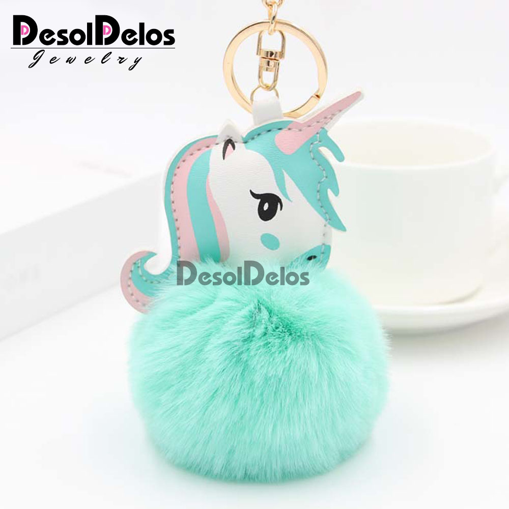 35 Colors Pompom Unicorn Keychain Rabbit Fur Ball Horse Key Chain Porte Clef Bag Car Keyring Llavero Mujer Chaveiros For Women