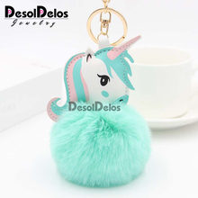 35 Colors Pompom Unicorn Keychain Rabbit Fur Ball Horse Key chain porte clef Bag Car Keyring llavero mujer chaveiros For Women(China)
