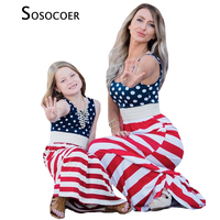 SOSOCOER Family Matching Clothes Summer Style Polka Dot Striped Mother Daughter Dress Mom And Girl Dresses