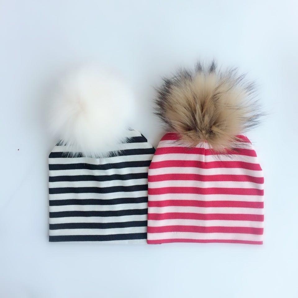 spring winter childrens hat cap Kids the baby boys girls cotton newborn photography props faux fur hat cap beanie pom poms