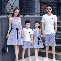 2019 Summer Dresses For Mom And Daughter Matching Clothes Striped Style Father And Son t Shirt Clothes Family Look Sets