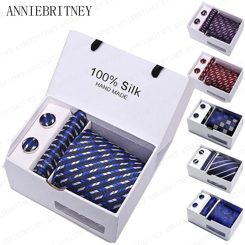 ANNIEBRITNEY Ties For Men 2019 Tie With Gift Box Jacquard Woven Gravata Silk Tie Hanky Cufflinks Necktie Sets For Wedding Party