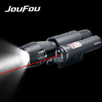 Hunting Tactical Lights LED Flashlight Warm White Light 500 Lumens High Power Zoomable Torch Red Laser