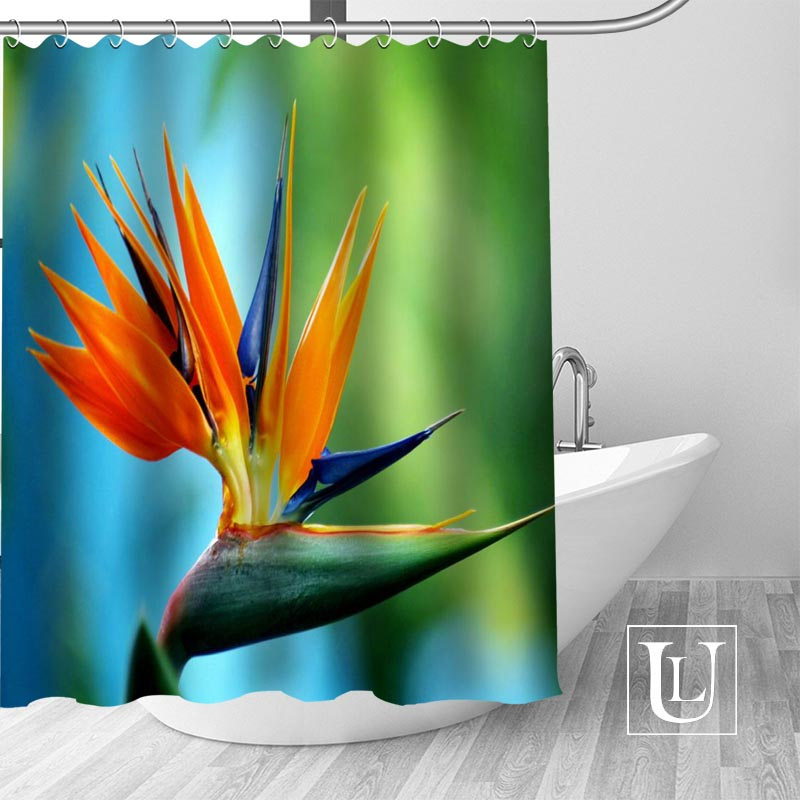 Waterproof Bathroom Curtains Modern Bird Of Paradise Flower Shower Curtain Polyester Bath Screens Customized In From Home Garden
