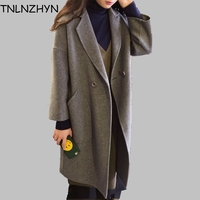 TNLNZHYN 2017 Women Wool Coats Gray Colored Loose Cocoon Coat Female Double Sided Cashmere Coat Women