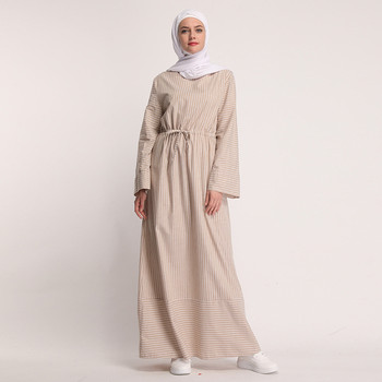 Ramadan 2019 Caftan Abaya dubaï arabe femmes longue rayé Maxi musulman Hijab  robe Caftan Marocain turc islamique vêtements 4.13