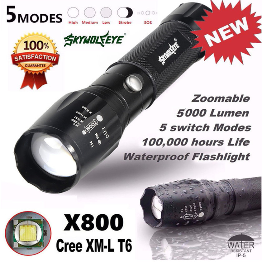 High Quality 5000LM G700 Tactical LED Super Bright  Sky Wolf Eye Flashlight X800 Zoom  Military Light Lamp  linterna militar