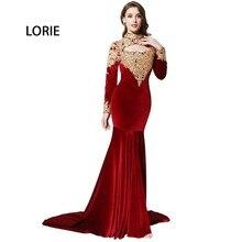 Velvet abendkleider High Neck Applizierte Burgund Formal Mermaid Arabische Abendkleid Mit Langen Ärmeln Abendkleider kurz 2017